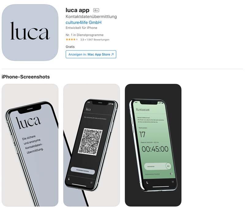 luca App im iOS AppStore.