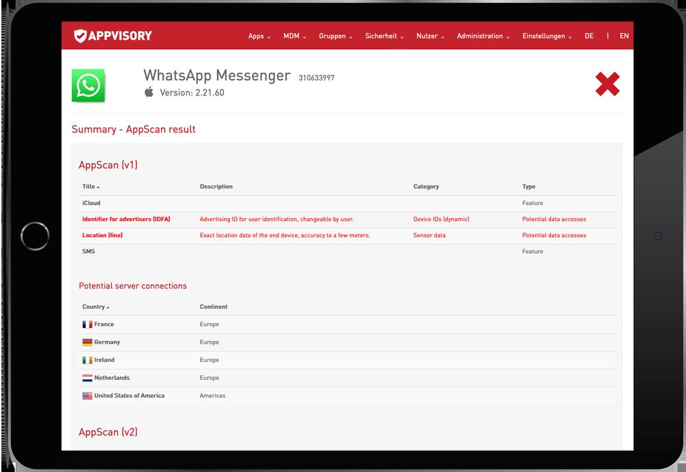 App Testing Übersicht in APPVISORY